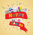 Happy Easter with colorful egg on yellow vector image