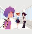 cheerful girl looking at two school friends vector image