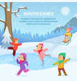 kids playing in winter games on playground vector image