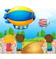 Kids watching the airships vector image