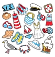 Sea Vacation Woman Fashion Stickers Patches vector image