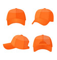 baseball white caps in front side and back view vector image