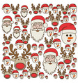 colorful pattern of christmas faces silhouettes vector image