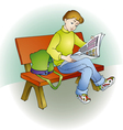 Young readers sat on a bench and read magazine vector image