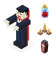 Halloween Vampire Icons Set Coffin Blood Elixir vector image vector image
