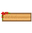 A signage with flowers vector image