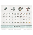 Design tools hand drawing line icons vector image