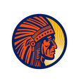 Native american indian chief warrior side vector image