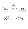 set of bicycle silhouettes on a white background vector image
