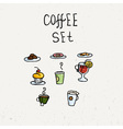 Set of doodle food icons French cafe Cupcake vector image