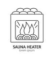 Modern Line Style Sauna Heater Logotype Template vector image