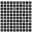 100 asian icons set grunge style vector image