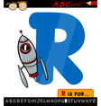 letter r with rocket cartoon vector image vector image