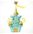 Magical fairytale blue castle with flags vector image