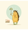 Greeting card with a hedgehog vector image