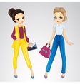 Girls Dressed In Bisness Style vector image