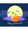 Bright orange pumpkin with violet curly cloud blue vector image
