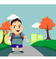 Cute little boy walks along the pathway vector image