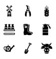 farmer equipment icons set simple style vector image