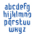 Handwritten lowercase letters with white outline vector image