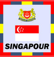 official ensigns flag and coat of arm of singapour vector image