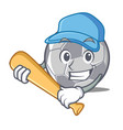 playing baseball football character cartoon style vector image