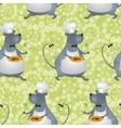 Seamless background cartoon rat cook vector image