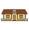 white background with colorful country house with vector image