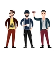 young men character flat set in different poses vector image