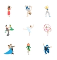 Dance styles icons set cartoon style vector image