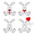 contour valentine bunnies vector image