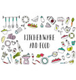set of kitchen utensils and food design elements vector image