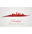 Cleveland skyline in red vector image