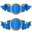 Blue round frame with ribbon vector image vector image