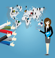 Businesswoman with world map and Thumb up vector image vector image