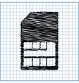Sim card icon with pen effect on paper vector image