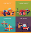 banners with mechanics repairing servicing cars vector image