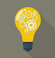 Lightbulb with gears vector image