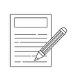 line paper document with pencil tool design vector image