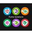 logos with funny monsters vector image