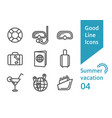 summer vacation outline icons set 04 vector image