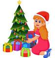 funny girl cartoon with christmas gift and christm vector image vector image