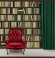 home library interior vector image vector image