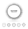 Set of Black Abstract Halftone Shapes vector image