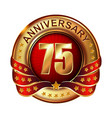 75 anniversary golden label with ribbon vector image