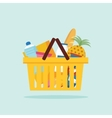 Shopping basket with foods Flat vector image