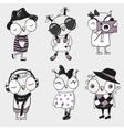 Six cute Owls vector image