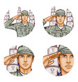 cemetery salute soldier pop art avatar icon vector image