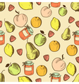 fruits in retro style seamless pattern vector image