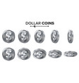 money dollar 3d silver coins set vector image